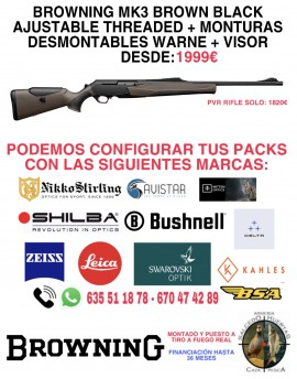 PACK BROWNING MK3 BROWN AJUSTABLE + MONTURAS WARNE DESMONTABLES + VISOR