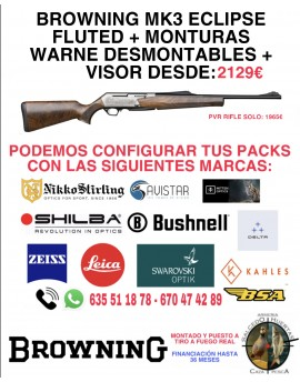 PACK BROWNING MK3 ECLIPSE FLUTED  + MONTURAS WARNE DESMONTABLES + VISOR